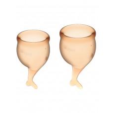 Набор менструальных чаш Feel Secure Menstrual Cup, 2 шт, 15 и 20 мл с хвостиком, оранжевые