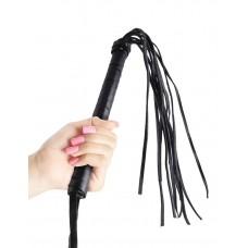 Чёрная кожаная плетка Cat-O-Nine Tails - 46,4 см.