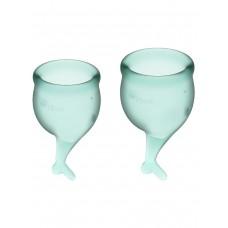 Набор менструальных чаш Feel Secure Menstrual Cup, 2 шт, 15 и 20 мл с хвостиком, зеленые