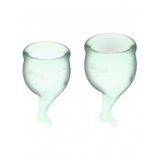 Набор менструальных чаш Feel Secure Menstrual Cup, 2 шт, 15 и 20 мл с хвостиком, светло-зеленые