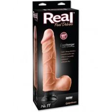 Вибратор Real Feel Deluxe №11 телесного цвета с мошонкой, 27 см