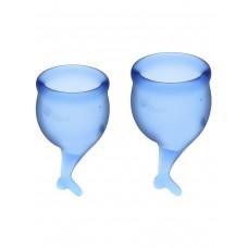 Набор менструальных чаш Feel Secure Menstrual Cup, 2 шт, 15 и 20 мл с хвостиком, синие
