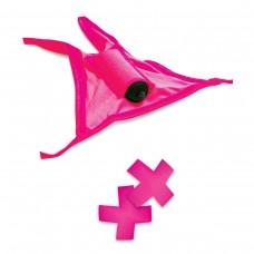 Ярко-розовые вибротрусики с вырезом и пэстисы  Neon Vibrating Crotchless Panty and Pasties Set