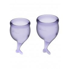 Набор менструальных чаш Feel Secure Menstrual Cup, 2 шт, 15 и 20 мл с хвостиком, лиловые