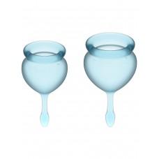 Набор менструальных чаш Feel Good Menstrual Cup, 2шт, 15 и 20 мл с хвостиком-капелькой, голубые