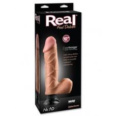 Вибратор Real Feel Deluxe №10 телесного цвета с мошонкой, 25 см