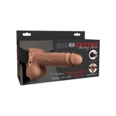 Перезаряжаемый вибрострапон Fetish Fantasy 7 Hollow Rechargeable Strap-on with Balls