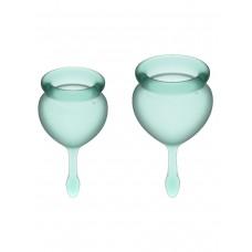 Набор менструальных чаш Feel Good Menstrual Cup, 2шт, 15 и 20 мл с хвостиком-капелькой, зеленые