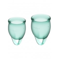 Набор менструальных чаш Feel confident Menstrual Cup, 2шт, 15 и 20 мл с петелькой, темно-зеленые