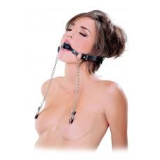 Кляп, соединенный цепью с зажимами для груди Deluxe Ball Gag   Nipple Clamps