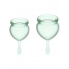 Набор менструальных чаш Feel Good Menstrual Cup, 2шт, 15 и 20 мл с хвостиком-капелькой, светло-зеленые