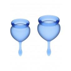 Набор менструальных чаш Feel Good Menstrual Cup, 2шт, 15 и 20 мл с хвостиком-капелькой, синие